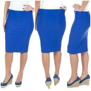 Professional Women Pencil Skirt, d1114, Royal Blue